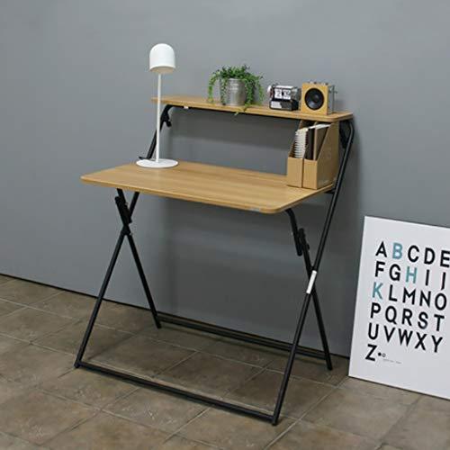 Dongy Pliant Bambou Pliable Ordinateur Portable Table De Bureau Portable Mini Petite Table Simple Ménage Ordinateur Bureau Bureau D'économie De Bureau (Couleur : Black Frame, Taille : A)