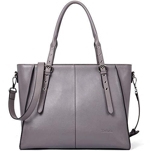 BOSTANTEN Damen Leder Handtasche Schultertasche Groß Shopper 15 Zoll Laptoptasche Aktentasche für Büro Designer Tote Bag Grau