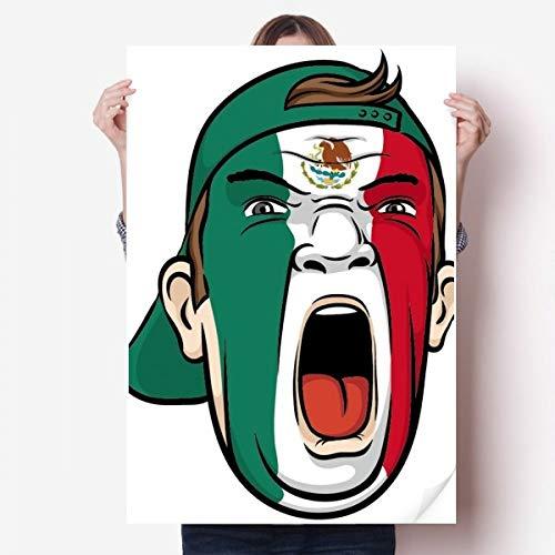 DIYthinker Mexico Vlag gezichtsmake-up masker schreeuwen Cap Vinyl muur Sticker Poster muurschildering behang kamer Decal 80X55Cm