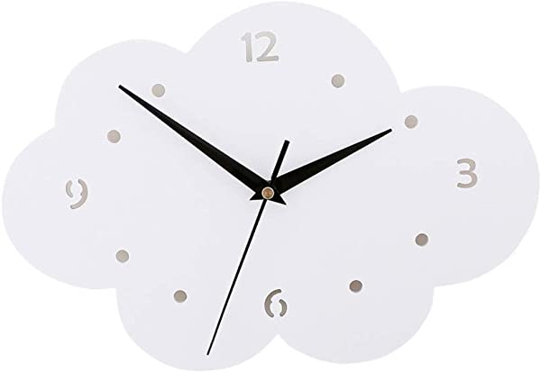 Vosarea Wall Clock Cute Decorative Cloud Shape Wall Watch Mirror Quartz Clock Silent Without Battery For Kids Nursery Room Bedroom Living Room