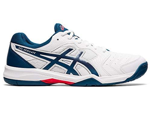 ASICS Men's Gel-Dedicate 6 Tennis Shoes, 11.5M, White/MAKO Blue