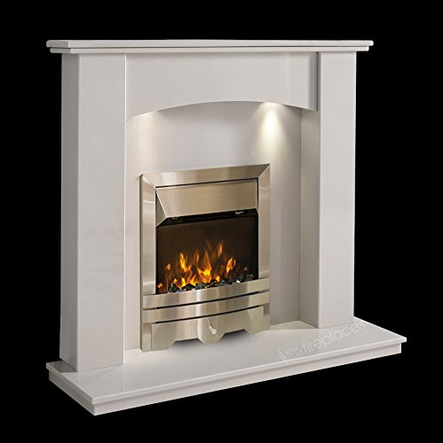 White Marble Stone Surround Modern Electric LED Fireplace Suite Wall Silver Electric Fire Moving Flame Effect & Spotlights