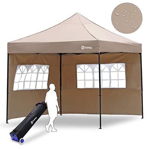 Sekey 3x3m Gazebo da Giardino, Tenda da Giardino Richiudibile Impermeabile, Pieghevole Gazebo per Festa/Matrimonio/Barbecue con Pareti Laterali, Taupe