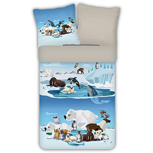 ESPiCO Bettwäsche Trendy Bedding Eisscholle Nordpol Südpol Arktis Antarktis Eisbär Pinguin Schneeeule Tiere Flanell, Größe:135 cm x 200 cm