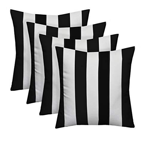 Resort Spa Home Decor Set of 4 Indoor/Outdoor Square Decorative Throw/Toss Pillows Black and White Stripe Fabric Choose Size (17' x 17')
