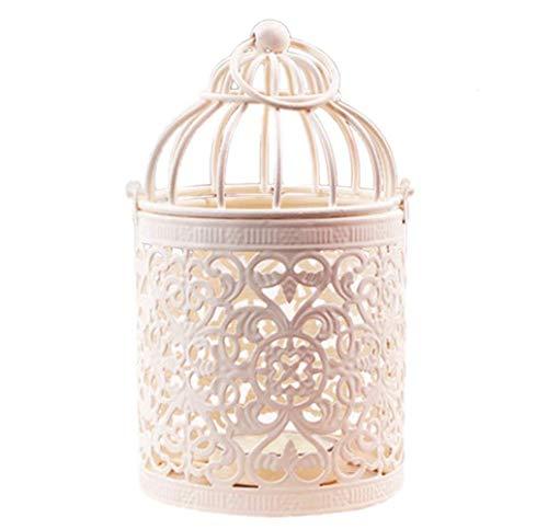 WeiMay - Farolillo portavelas con forma de jaula para pájaros, creativo, para decorar bodas o colocar en casa sobre la mesa, 1 unidad 14*8CM+1PC tipo B