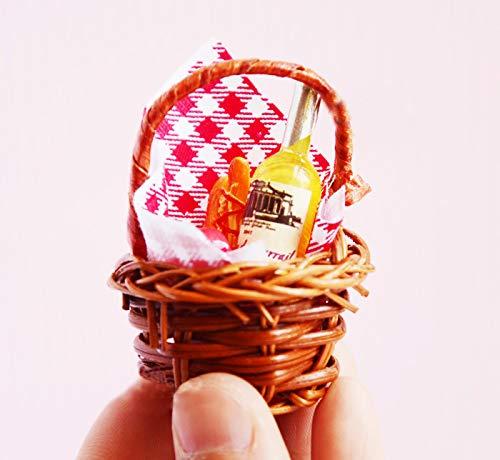 witgift Miniatur Puppenhaus Set ,Miniatur Picknickkorb + Picknickdecke + Champagner +Lebensmittel,Mini Picknickset Ornament Für Puppenhaus Küche Zubehör