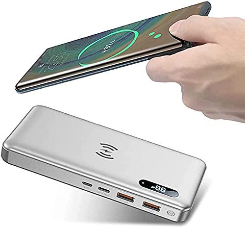 Batería Externa Movil 50000Mah 15W Cargador Portatil Inalámbrico Con PD 65W QC 4.0 Tipo C Carga Rápida, 2 Puertos De Salidas USB Power Bank Para Iphone Xiaomi Samsung Huawei Y Más Smartphone,Plata