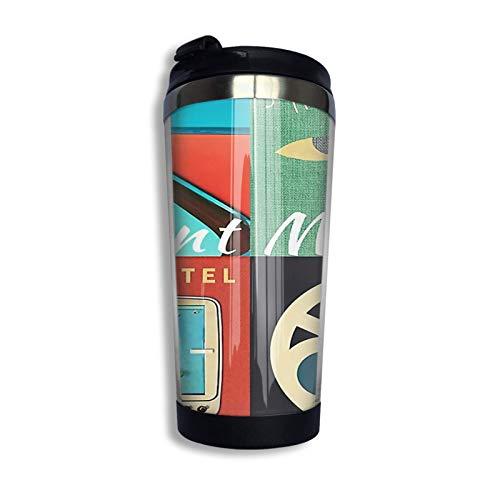 Hdadwy Funda para álbum Saint Motel - Taza de café de acero inoxidable Payulek de 13 onzas con tapa protectora, taza de viaje negra, talla única