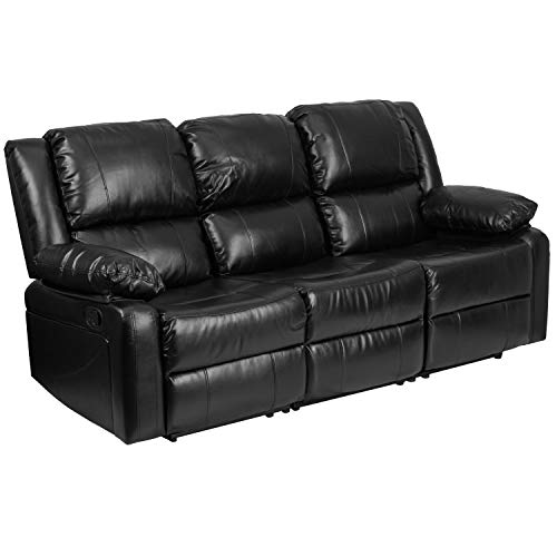 Flash Furniture Leather Recliner Sofa, Black LeatherSoft