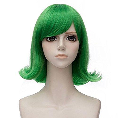 Anogol Hair Cap+Short Wavy Cosplay Wig Green Hair Costume Halloween Wigs