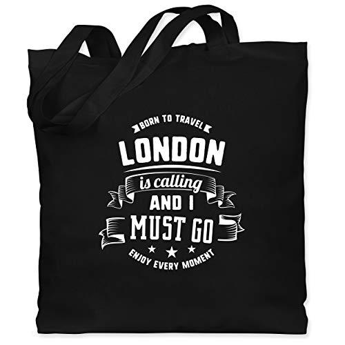 Shirtracer Städte - London is calling and I must go Weiß - Unisize - Schwarz - london jutebeutel - WM101 - Stoffbeutel aus Baumwolle Jutebeutel lange Henkel