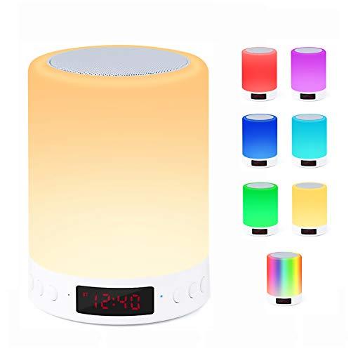 Bluetooth-Lautsprecherlampe, Smart Touch Sensor Nachtlicht mit Wecker FM-Radio, dimmbare 7-Farben-RGB-Nachttischlampe für Schlafzimmer, tragbare mit Stimmungslicht, beste Geschenke für Frauen, Kinder