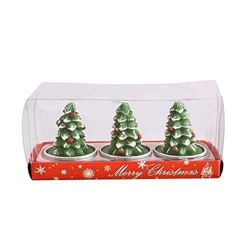 BAULMD 3 In1 Box Weihnachten Teelicht Kerzen, Adventskerzen Cartoon Kerzen fur Advent Weihnachten Deko, Stumpenkerzen mit Handgemachte Zarte Weihnachtsmänner Schneemann (C)