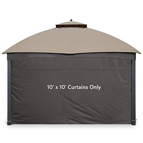 Gafrem Gazebo Universal Replacement Privacy Curtain Panel Side Wall fits 10'x10' and 10'x12' Gazebos (10'x10' Feet, Brown)