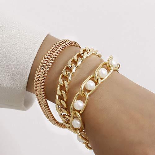 Bohend Moda Layered Bracciali Oro Perla Regolabile Mano Catena a più strati Metallico Braccialetto Gioielleria per donne e ragazze