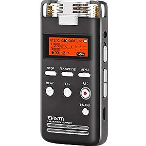 Grabadora de voz digital EVISTR 8GB L53-1536 kbps Dispositivo de grabación de audio estéreo Grabadoras portátiles para conferencias compatible con micrófono externo