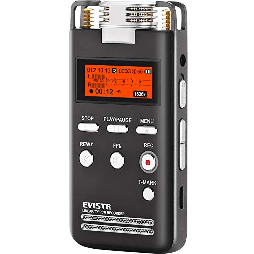EVISTR Digital Voice Recorder 8GB L53-1536KBPS Stereo Audio Recording Device Portable Recorders for Lectures Support External MIC