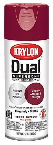 Krylon K08801007 'Dual' Superbond Paint and Primer, Gloss Black, 12 Ounce