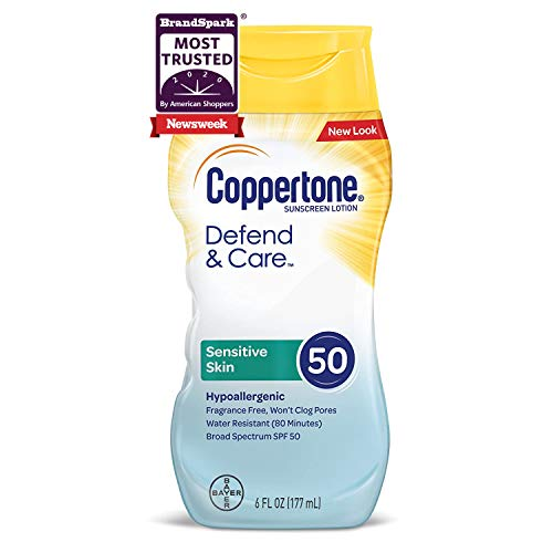 Coppertone Defend & Care Sensitive Skin Sunscreen Lotion Broad Spectrum SPF 50 (6 Fluid Ounce) (Packaging may vary)