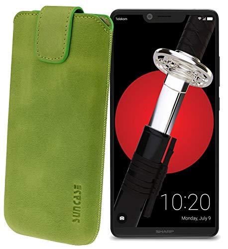 Suncase Original Etui Tasche für Sharp Aquos D10 *Lasche mit Rückzugfunktion* Handytasche Ledertasche Schutzhülle Hülle Hülle in antik-Kiwi grün