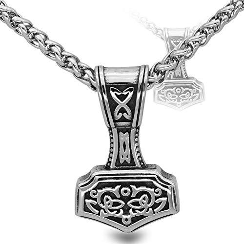 Fandao Edelstahl Thor Hammer Anhänger Halskette, Nordische Odin Mythologie Mjolnir Talisman, Vegvisir/Schädel/Valknut/Keltischen Knoten, 50/60/70 cm, Glück/Geschenk,One,70CM