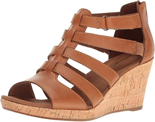 Rockport Women's Briah Gladiator Wedge Sandal, Dark tan Leather, 9 W US