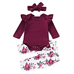 ✿ Material:Cotton blend. Soft,breathable and comfortable, No harm to baby's skin ✿ Fashion ruffle lace romper and floral pants make your baby more adorable ✿ Suitable for baby girls within 24 months,and it will be the best gift for your honey ✿ Perfe...