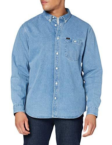 Lee Mens Riveted Shirt, Faded Blue, 5XL