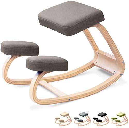 LAL6 Ergonomischer Stuhl Zum Knien, Hocker Aus Natürlichem Birkenholz Für Heim Und Büro Verbessern Sie Ihre Körperhaltung Mit Einem Gekippten Sitz,Gray