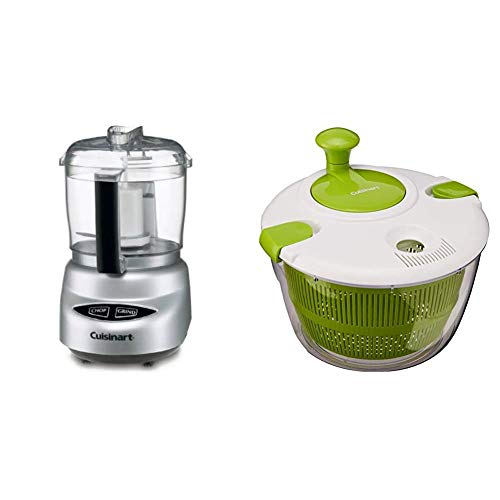 Cuisinart DLC-2ABC Mini Prep Plus Food Processor Brushed Chrome and Nickel & CTG-00-SAS Salad Spinner, Green and White