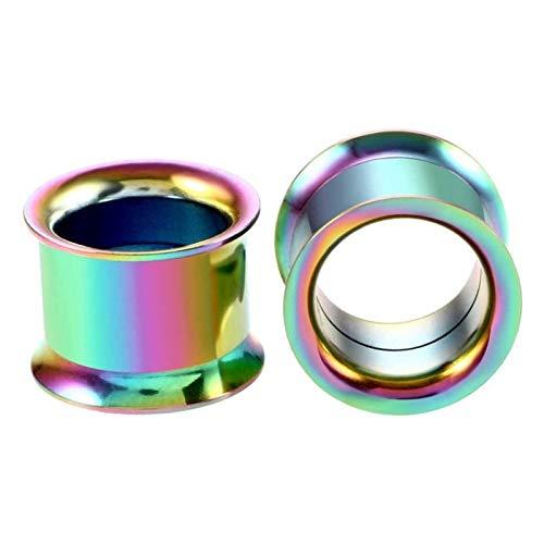 JYBHSH Oído 1PC tapón auditivo dilatador Acero Inoxidable joyería Canal Plug Perforada (Color : EM0079 Rainbow, Size : 28mm)