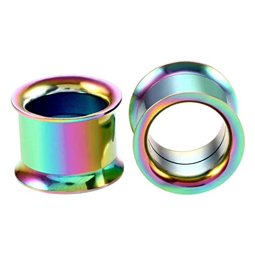 JYBHSH Oído 1PC tapón auditivo dilatador Acero Inoxidable joyería Canal Plug Perforada (Color : EM0079 Rainbow, Size : 28mm)