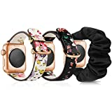 (3 Pack) G.P Band Compatible with Apple Watch Band Floral Leather + Scrunchies 40mm 38mm Cloth Soft Pattern Printed Fabric Wristband Bracelet Women Rose Gold Elastic Scrunchy Bands Series 6 SE 5 4 3 7