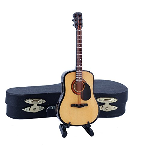 Dselvgvu Wooden Miniature Guitar with Stand and Case Mini Musical Instrument Replica Collectible Miniature Dollhouse Model Home Decoration (Acoustic Guitar:with Pick Guard, 5.12'x1.86'x0.68')