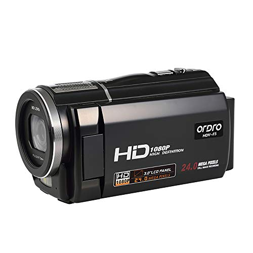 Video Camera Camcorder Digital Recorder Ordro 1080P 15FPS 3.0 Inch 270 Degree Rotation LCD with 2 Batteries