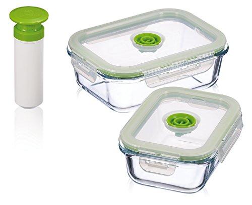 Kuhn Rikon 3er-Set (0,64L+1,04L+Pumpe) Vakuum-Aufbewahrungsbehälter, umweltfreundlich aus Glas, 21,1 x 16 x 15 cm, 3-Einheiten, Vorratsdose transparent