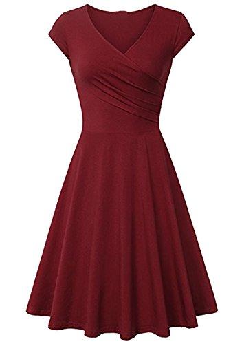 EFOFEI Damen Sommer Kleid Flügelärmeln Kleid Warp Midi Freizeitkleid Burgund L