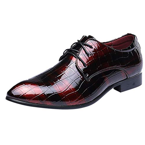 LuckyGirls Chic INS Hommes en Cuir Oxford Dress Shoes Chaussures de mariée Bright Lace Up Casual Business Shoes