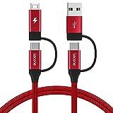Lecone 4 in 1 Multi Cavo USB C di Ricarica con Trasferimento Dati, Nylon Intrecciato Adattatore per Caricabatterie con USB C X2/Micro USB/USB Porte per Dispositivi Android e di Tipo C (Rosso (1M))