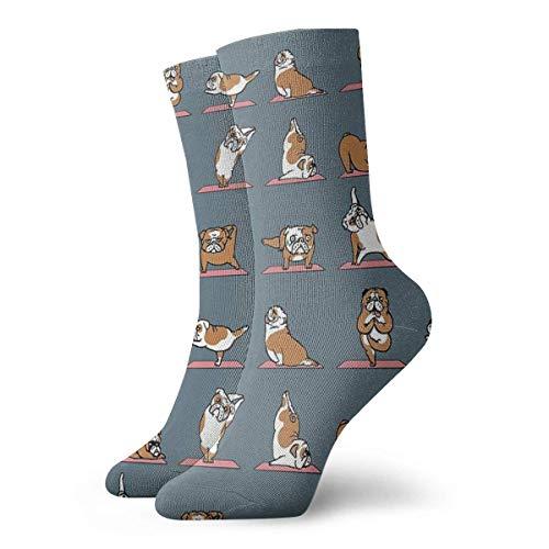 Calcetines de yoga Bulldog Inglés Clásicos Deporte Calcetines Cortos 30cm/11.8inch Adecuado para hombres mujeres