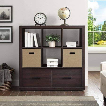 Wood Storage Organizer with Drawers, 6-Cube Living Room Steele Display Hutch, Bookcase, Metal Drawer Glides, Photos, Decor, Espresso Finish
