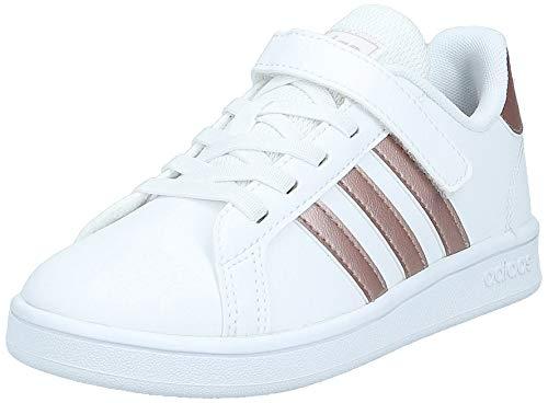 adidas Grand Court, Scarpe da Tennis Unisex-Bambini, Bianco (Cloud White/Copper Met./Light Granite), 35 EU