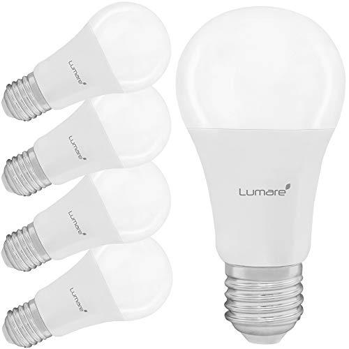 Lumare E27 LED Lampe 12W Ersetzt 75W Glühbirne 1100lm 5er Set Watt Lumen A60 Leuchtmittel 2700 Kelvin warmweiß Fassung