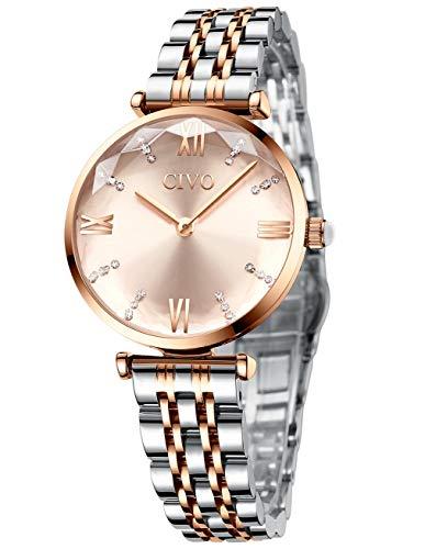 CIVO Reloj Mujer Relojes de Pulsera Analogico Minimalistas Oro Rosa Acero Inoxidable Impermeable Reloj para Mujeres Moda Casual Negocios Vestid