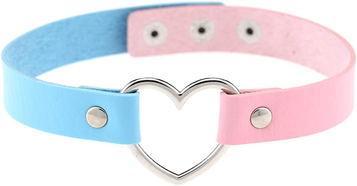 Hiphop Street Dance Hollow Peach Love Metal Heart Ring Double Color Matching Stitching Leather Collar Goth Choker Necklaces for Women Girls Punk Cool Jewelry