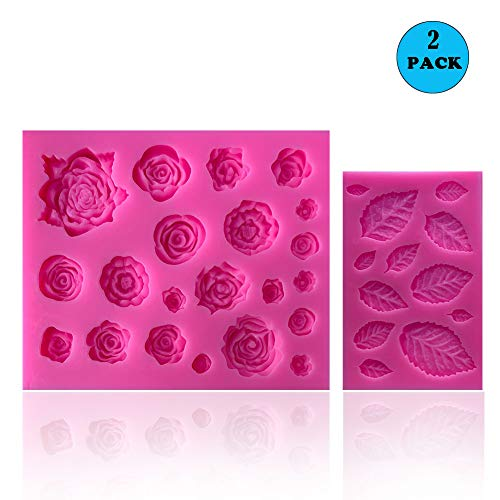 SIENON 33 Cavity Rose Flowers and Leaves Fondant Candy Silicone Molds For Sugarcraft, Cupcake Toppers, Soap, Polymer Clay,Crafting Projects,Wedding and Birthday Cake Decoration