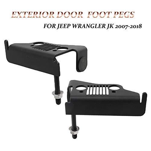 KMFCDAE for Jeep Foot Pegs JK Exterior Front Door Hinge Foot Rest Kick Pedal Grille Panel for Jeep Wrangler JK 2DR JKU 4DR 2007-2018 (1 Pair)