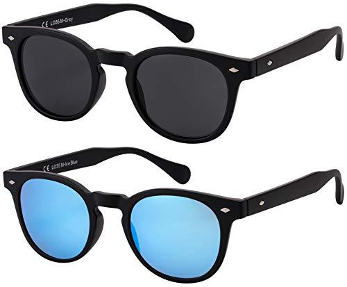 La Optica, occhiali da sole unisex, protezione UV 400, cat. 3 CE, ovali/rotondi, colorati, confezione singola o doppia Confezione doppia nera opaca (lenti: 1 grigio, 1 azzurro a specchio). S