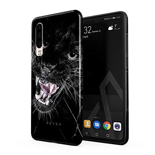 BURGA Hülle Kompatibel mit Huawei P30 - Schwarz Panther Katze Savage Wild Cat Robustes Stoßfestes Doppellagiges Hardcase + Silikon Handyhülle Hülle Cover
